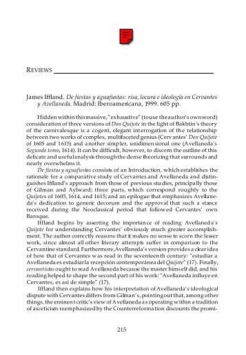 Book reviews, Cervantes 21.2 (2001) - H-Net