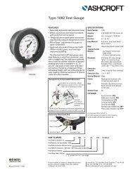 Ashcroft 1082 Test Gauge data sheet - DFS Gauges