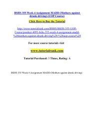 BSHS 355 Week 4 Assignment MADD/ Tutorialrank
