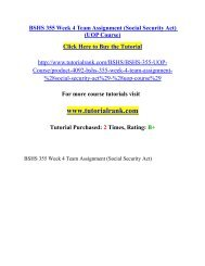 BSHS 355 Week 4 Team Assignment/ Tutorialrank