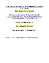 BSHS 355 Week 5 Assignment Disaster Survivors Population/ Tutorialrank
