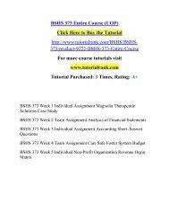 BSHS 373 Entire Course (UOP)/ Tutorialrank