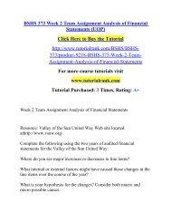 BSHS 373 Week 2 Team Assignment Analysis of Financial Statements (UOP)/ Tutorialrank