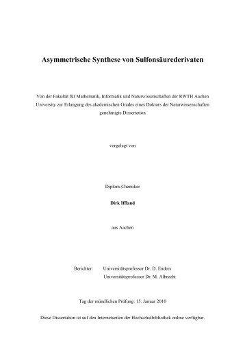 Asymmetrische Synthese von Sulfonsäurederivaten