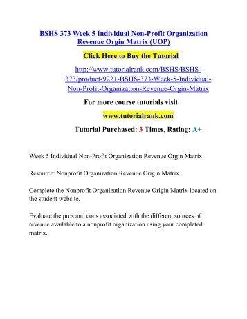 Nonprofit Organization Revenue Origin Matrix