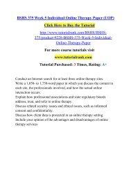 BSHS 375 Week 5 Individual Online Therapy Paper (UOP)/ Tutorialrank