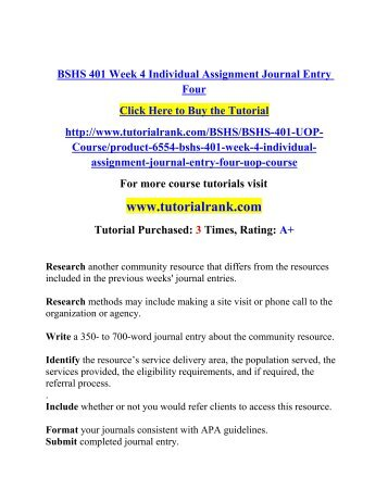 BSHS 322 week 4 Individual Assignment Text Exercises & Journal Entries