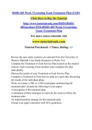 BSHS 405 Week 3 Learning Team Treatment Plan (UOP)/ Tutorialrank