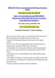 BSHS 405 Week 5 Learning Team Discharge Summary (UOP)/ Tutorialrank