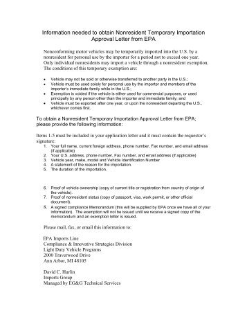 Format of approval letter issued for import -EHTP