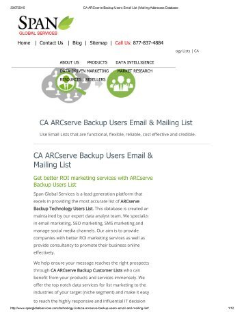 Buy Taregted CA ARCserce Backup User Lists from Span Global Services