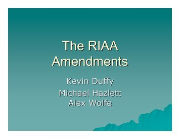 The RIAA Amendments