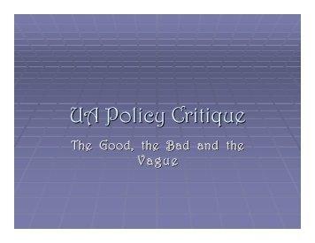 UA Policy Critique