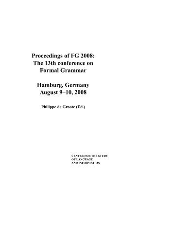Proceedings of FG 2008: The 13th conference on Formal Grammar ...