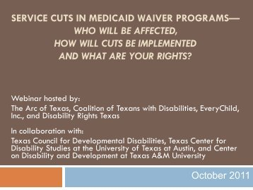 Service Cuts in Medicaid Waiver Programs - Community Now!