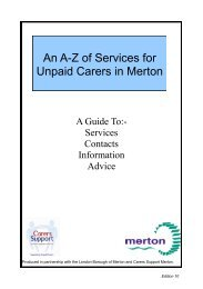 An A-Z of Services for Unpaid Carers in Merton