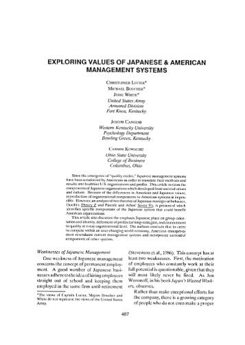 american and japanese values system essay Essay about japanese school systems vs american 1936 words 8 pages   one make over the other, this includes: performance, reliability, and resale value.