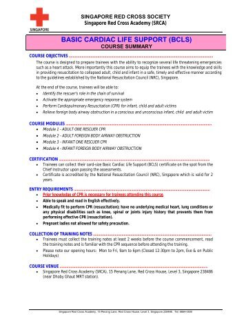 basic cardiac life support (bcls) certification - singapore general ...