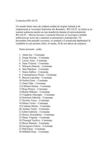 lista sustinatori noua - RO.AS.IT - Asociatia Italienilor din Romania