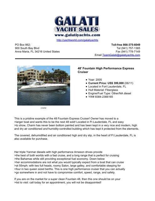 48' Fountain High Performance Express Cruiser - Galati Yacht