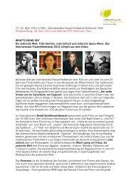 Festivalstart 2012 - Internationales Frauenfilmfestival Dortmund