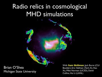 Radio relics in cosmological MHD simulations