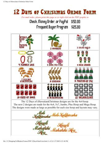 12 days of hawaiian christmas order form digi demon - 12 Days Of Christmas Hawaiian Style