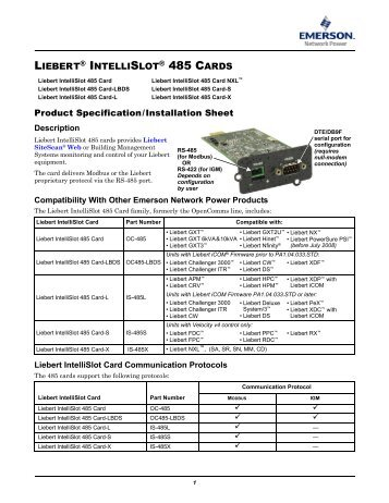 liebert intellislot modbus 485 modbus ip and bacnet ip rh yumpu com plc Wiring Diagrams RS 485 Wiring-Diagram