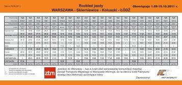 Rozkład jazdy WARSZAWA - Skierniewice - Koluszki - ŁÓDŹ