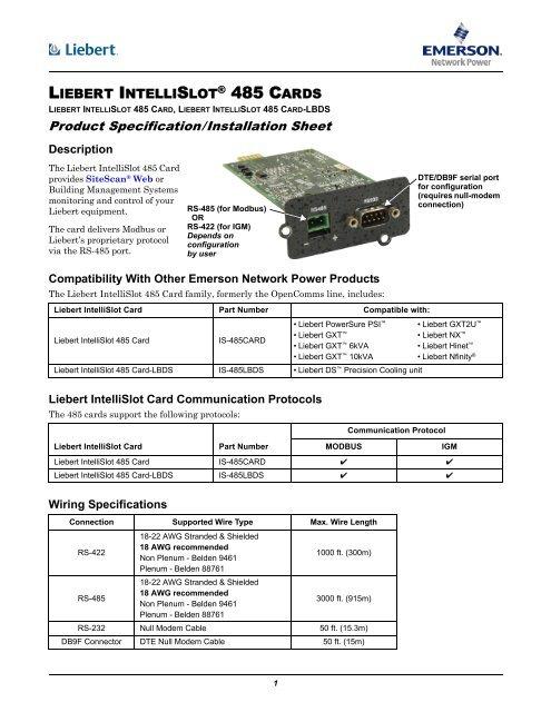 Liebert Intellislot 485 Card