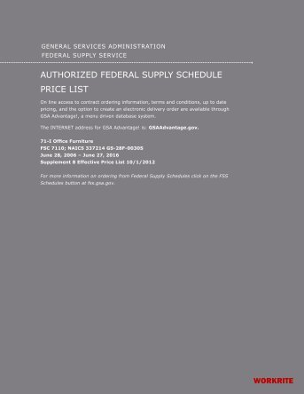 Authorized Federal Supply Schedule Price List