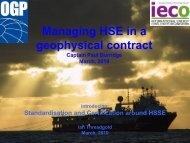 Managing HSE in a geophysical contract