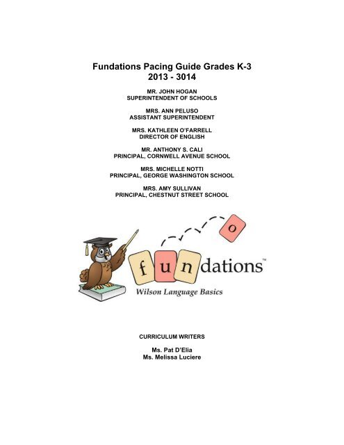 Fundations Pacing Guide Grades K 3 2013 3014