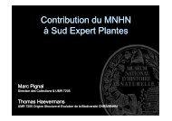 Contribution du MNHN à Sud Expert Plantes