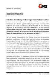 MEDIENMITTEILUNG Feierliche Einweihung der ... - EMS Chemie