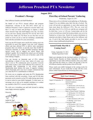 jefferson preschool newsletter issue 7 para west preschool 639