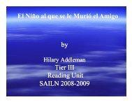 El Niño al que se le Murió el Amigo by Tier III Reading Unit SAILN 2008-2009