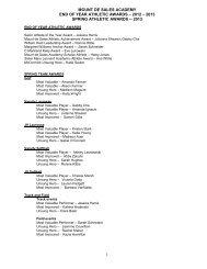 complete list here - Mount de Sales Academy
