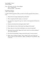 Reading Questions - Mount de Sales Academy