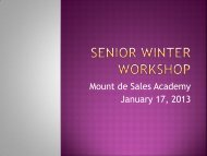 Mount de Sales Academy January 17 2013