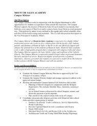 MOUNT DE SALES ACADEMY Campus Minister Job Description