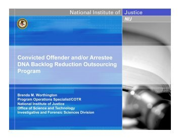 Convicted Offender and/or Arrestee DNA Backlog Reduction Outsourcing Program
