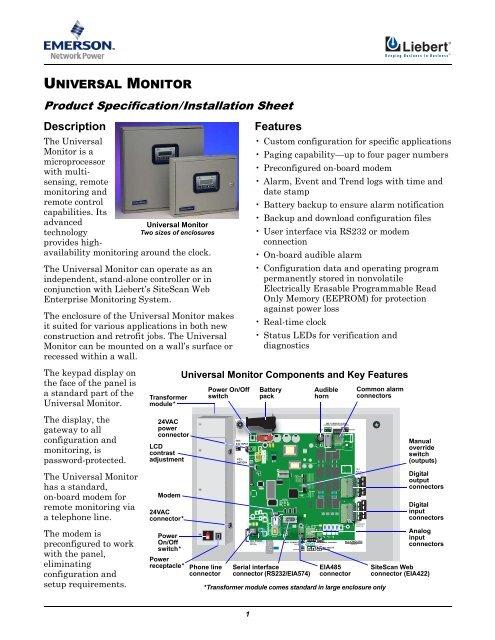 Liebert Universal Monitor - Emerson Network Power