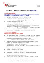 Belonging Checklist 準 備 物 品 清 單 – (Gentleman)