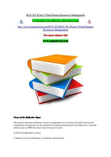BUS 303 Week 5 Final Human Resources Management
