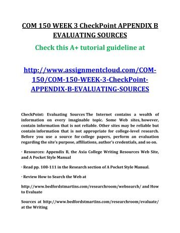 com 150 checkpoint expository essay topic Com 150 checkpoint expository essay topic material characteristics of the expository essay what is an essayan essay is an important part of your college experience because it requires critical thinking as well as organization and research.