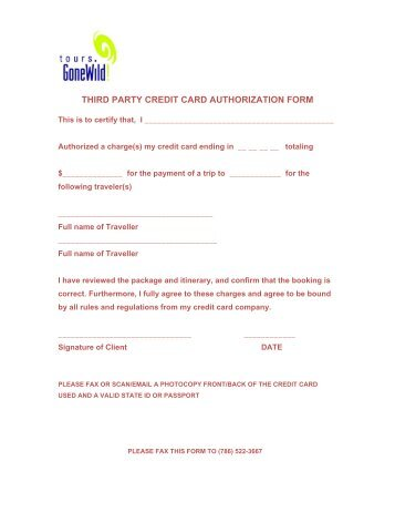 third party credit card authorization form