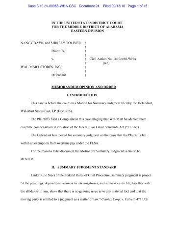 Davis v. Wal-Mart Stores, Inc. - Overtime Law Blog | FLSA Decisions