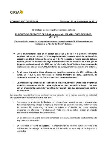 COMUNICADO DE PRENSA Terrassa, 27 de ... - AZARplus