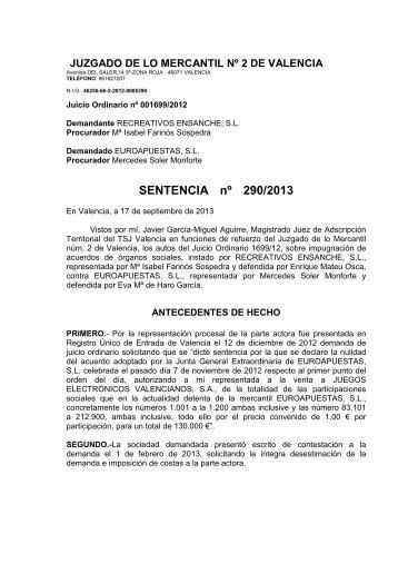 SENTENCIA nº 290/2013